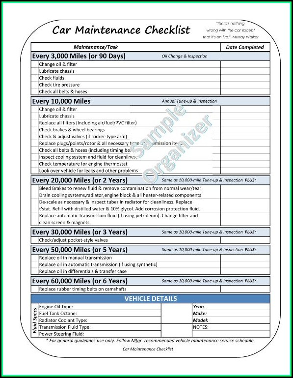 Free Vehicle Checklist Template Excel
