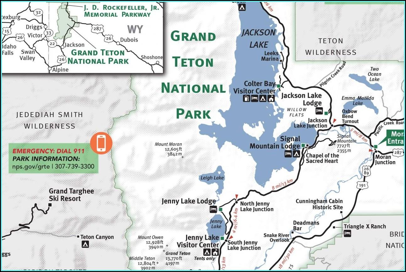 Grand Teton National Park Map Yellowstone