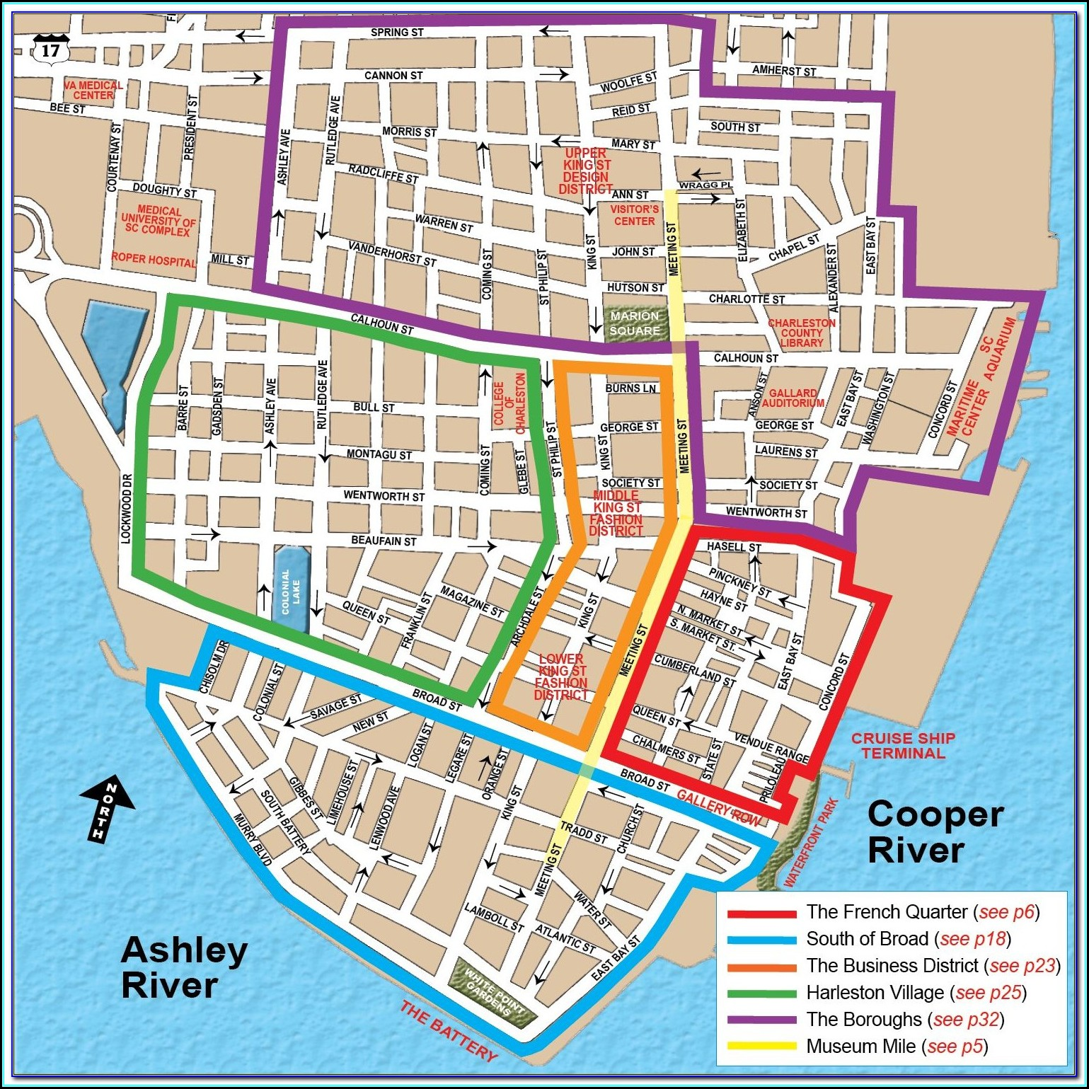 Historic Charleston Map With Hotels