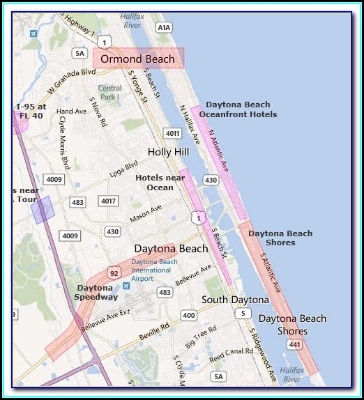 Hotels In Daytona Beach Shores Map