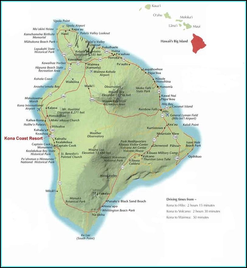 Kona Coast Resort Hawaii Map