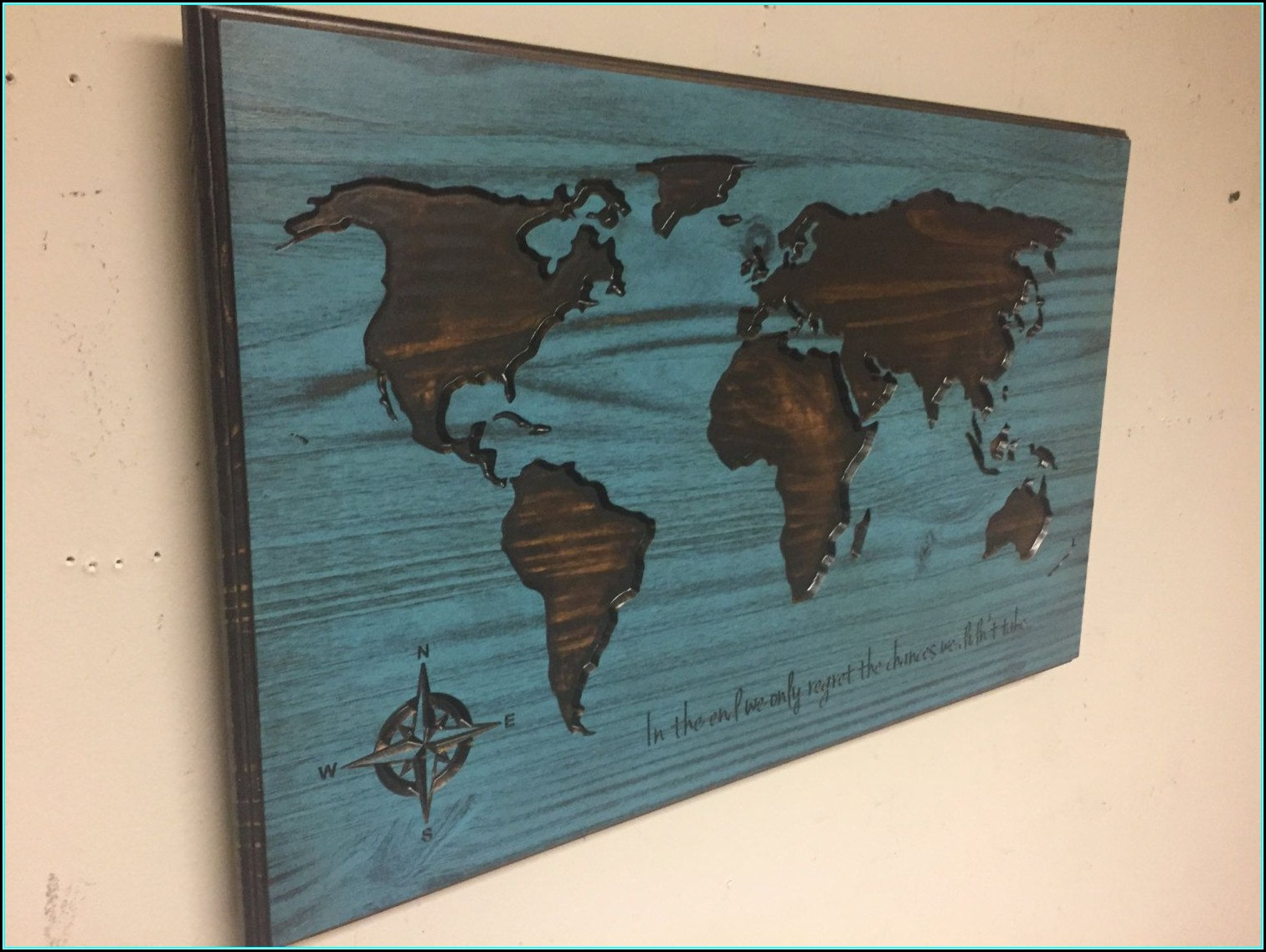 Large Wooden World Map Wall Art