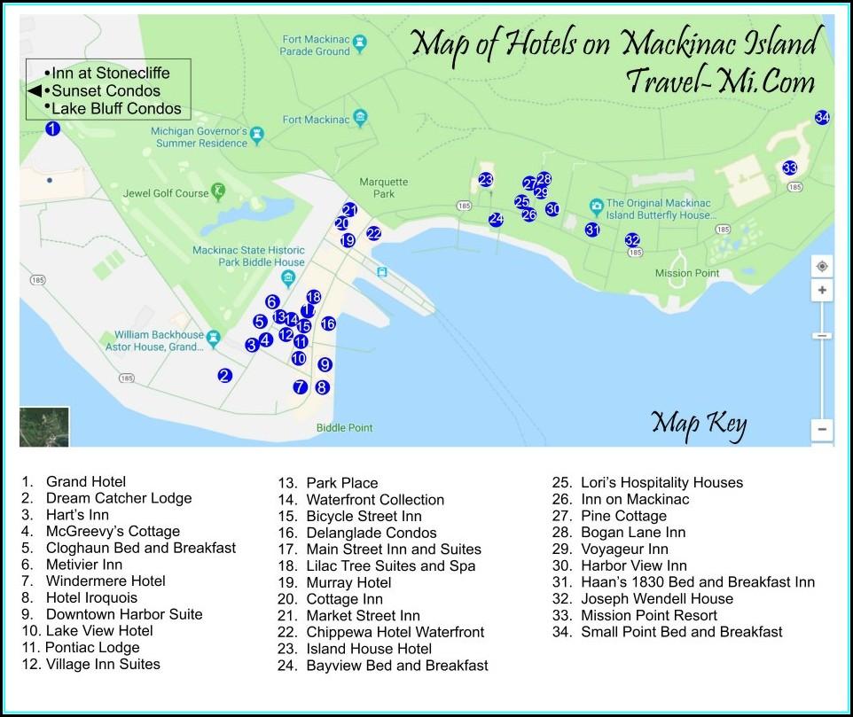 Mackinac Island Hotels Map