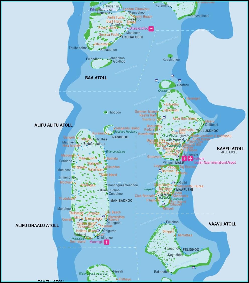 Maldives Islands Map Resorts