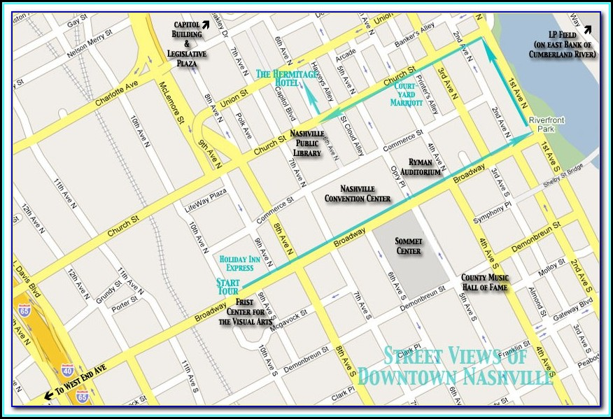 Map Of Downtown Nashville Hotels And Bars