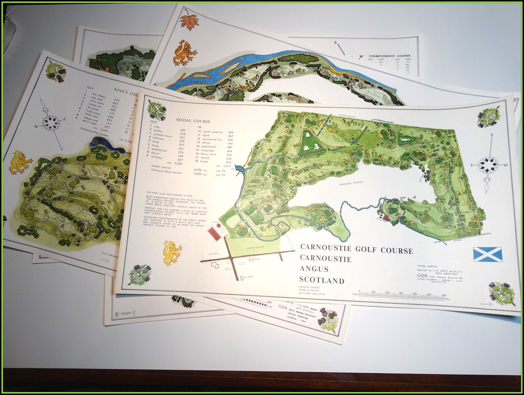 Map Scotland Famous Golf Courses