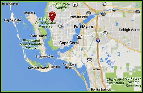 Map Showing Cape Coral Florida