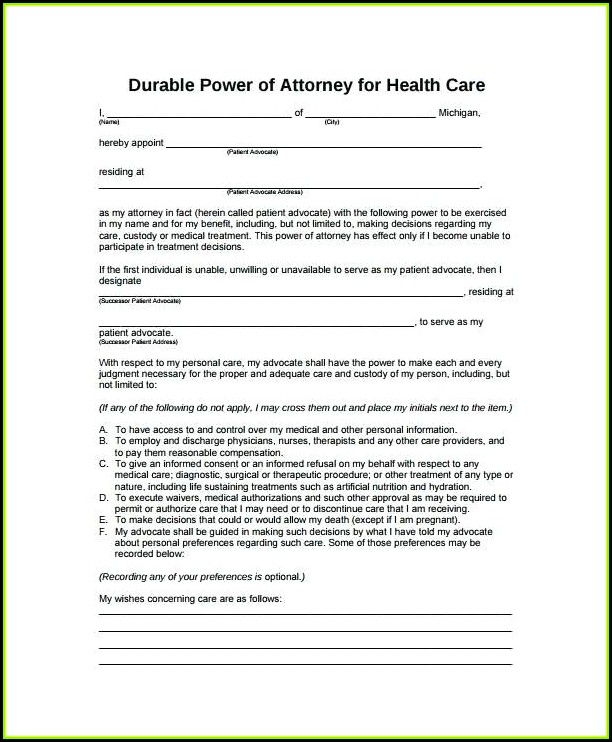 Sample Indiana Durable Power Of Attorney Form
