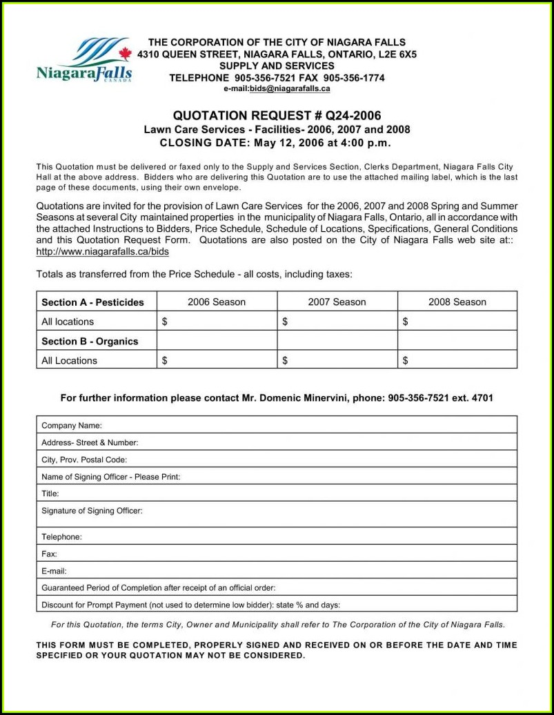 Sample Lawn Care Estimate Form