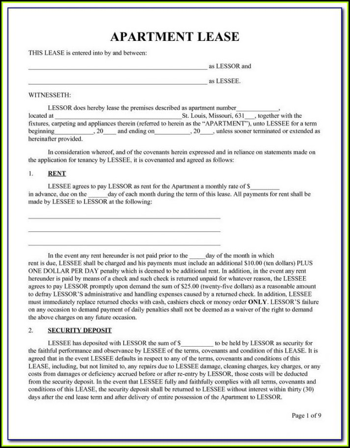 Simple Renters Lease Form