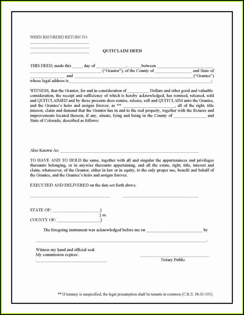 State Of California Quit Claim Deed Form