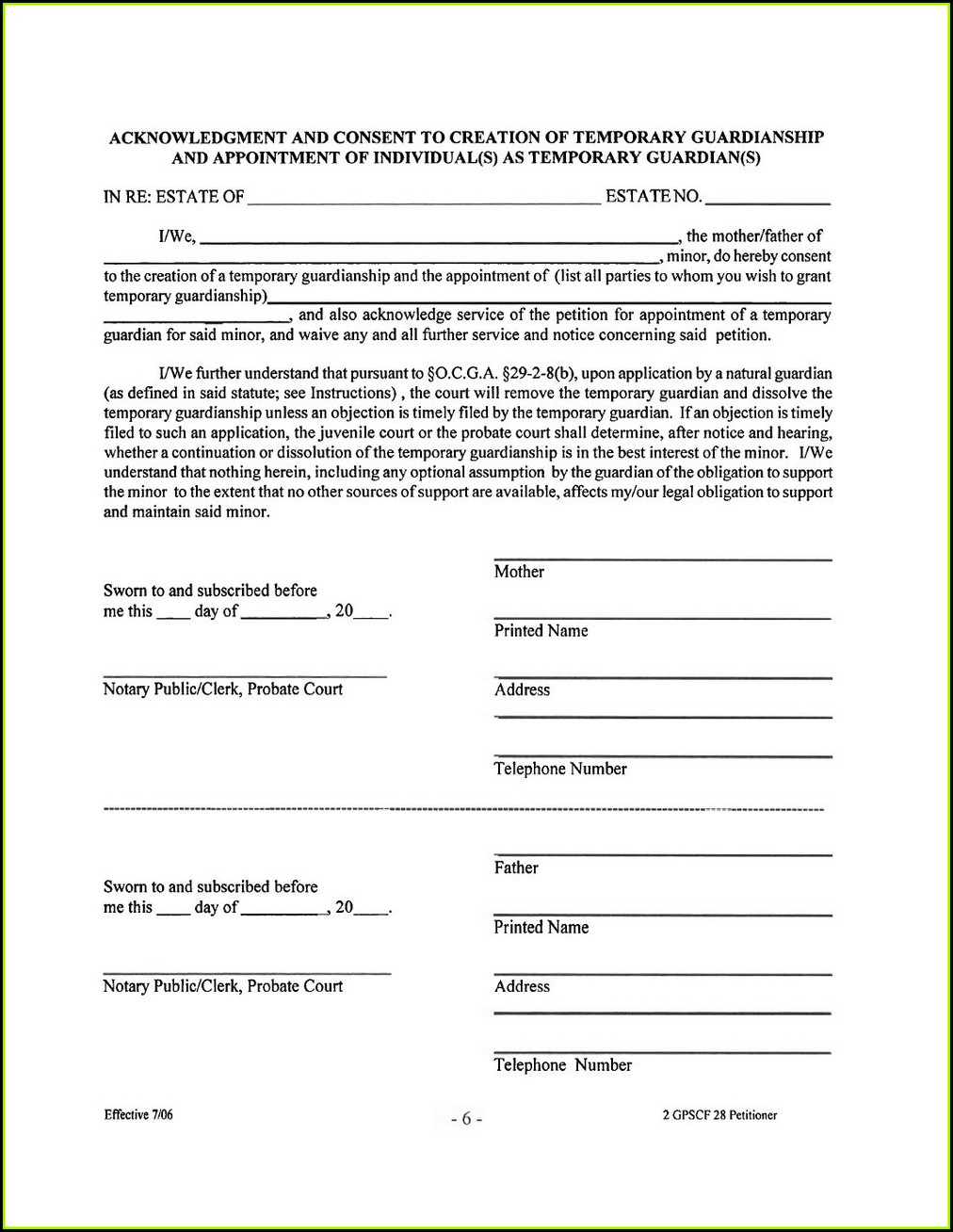 Temporary Guardianship Form Illinois