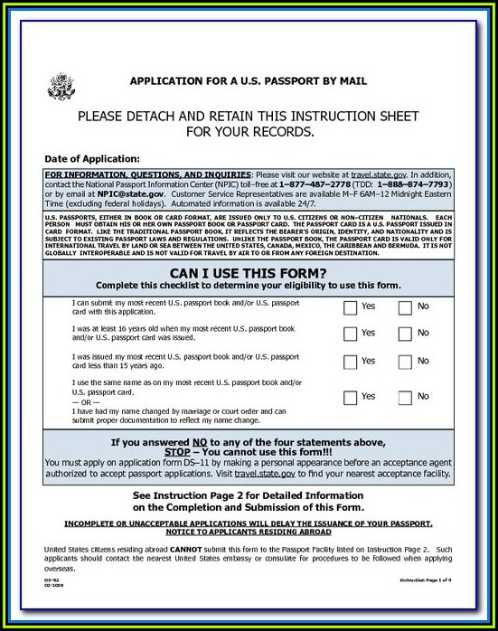 Travel.state.gov Passport Form Ds 82