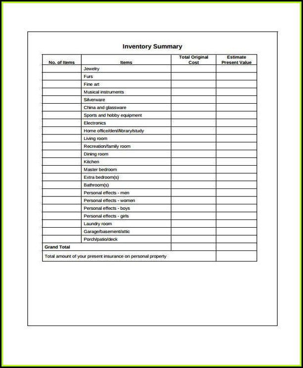 Unfurnished Property Inventory Form