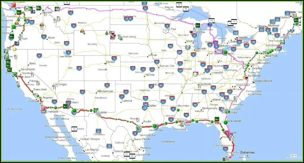 United States Map With Major Cities And Highways
