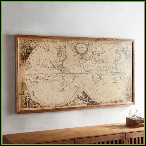 Vintage Style World Map Framed Wall Decor