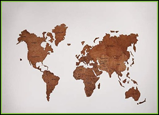 Wooden Wall Art World Map