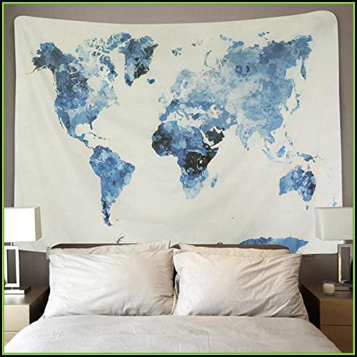 World Map Bedroom Decor