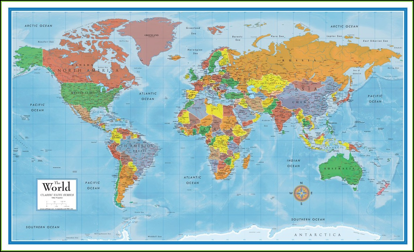 World Map Laminated Large