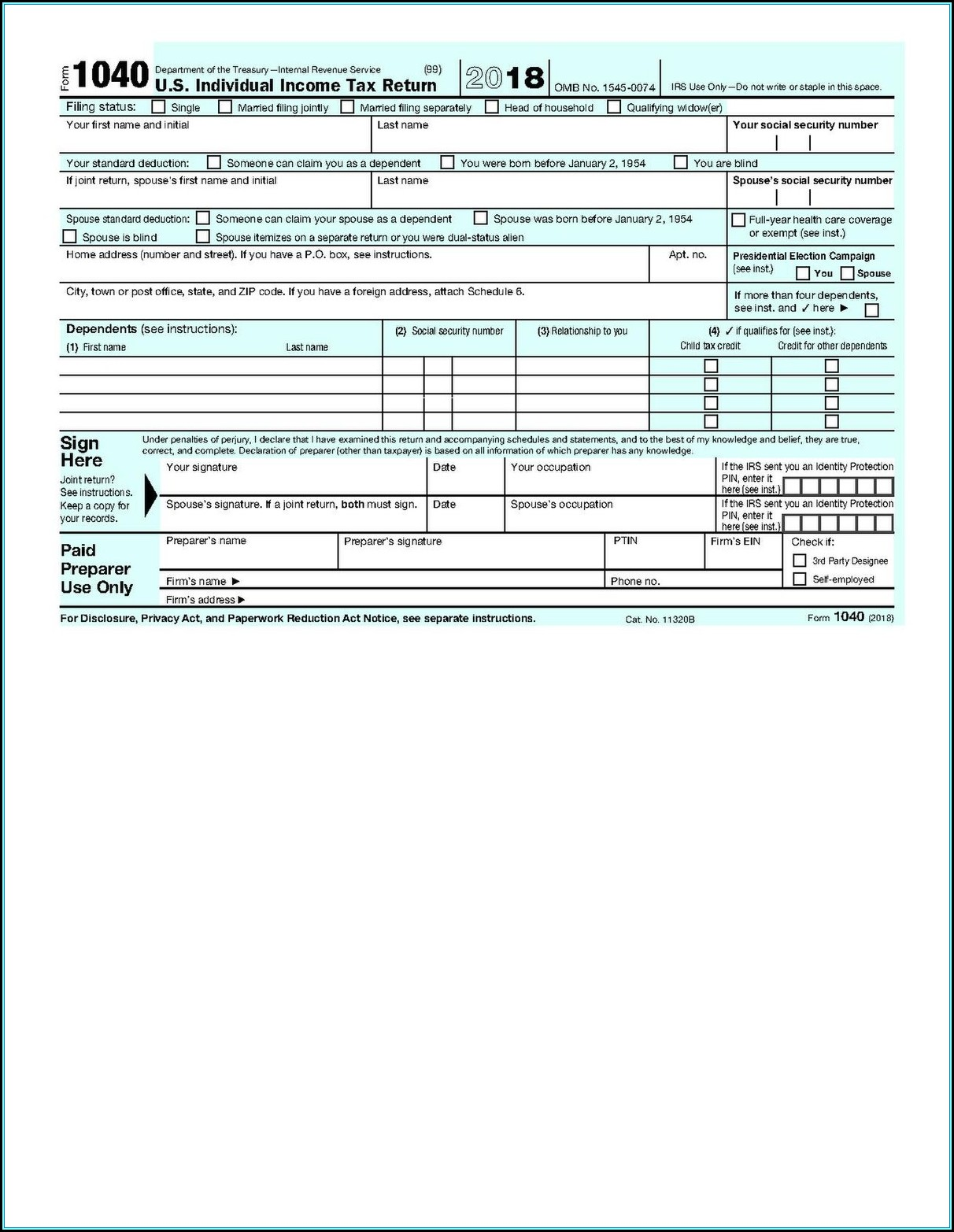 2013 Federal Tax Forms 1040a Printable