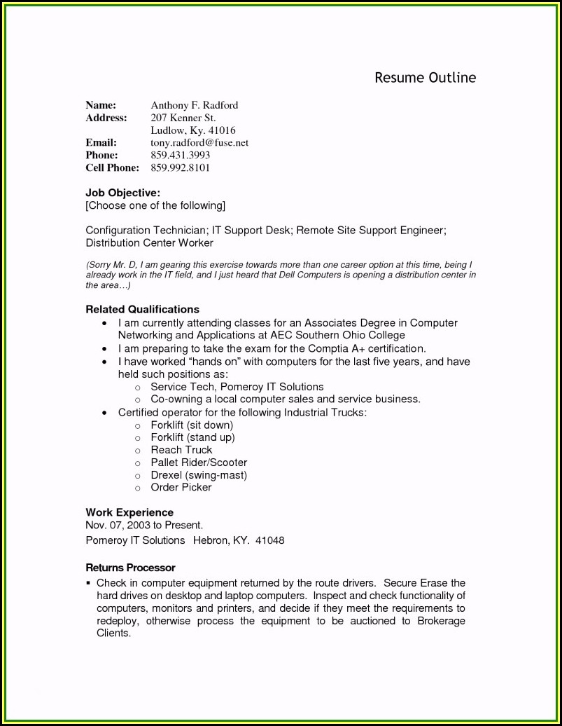 A Good Resume Outline