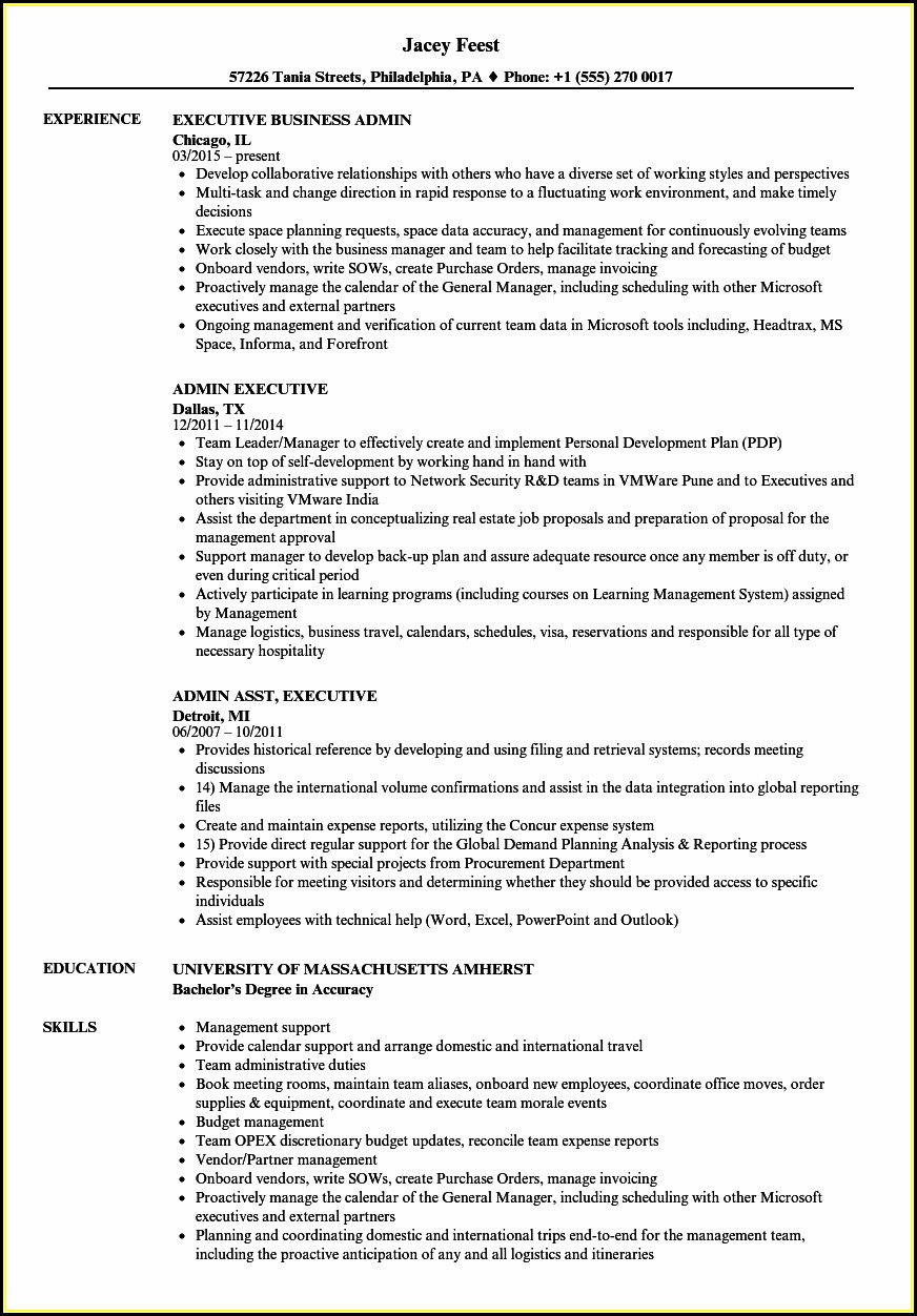 Admin Manager Resume In Word Format