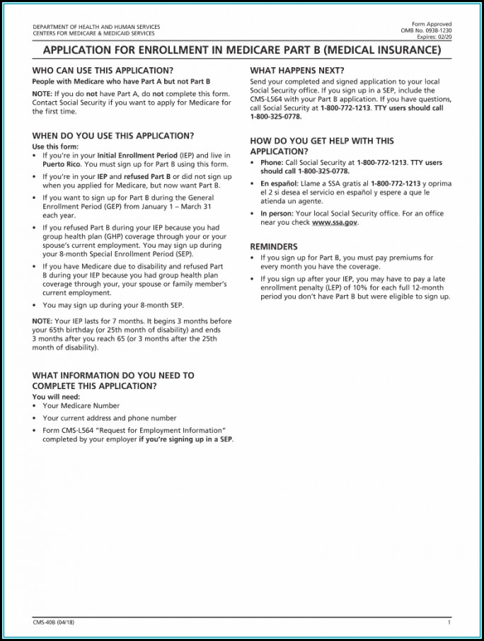 Application For Medicare Part B Employer Form