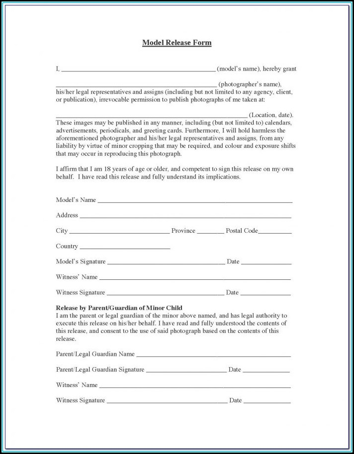 Basic Photography Model Release Form