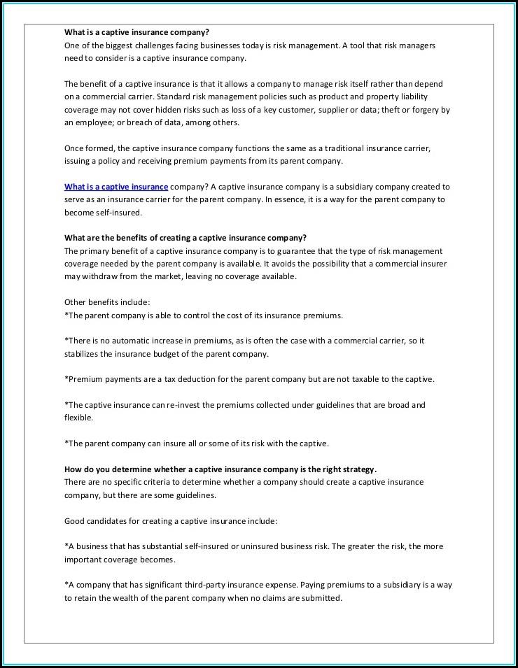 Benefits Of Forming A Captive Insurance Company