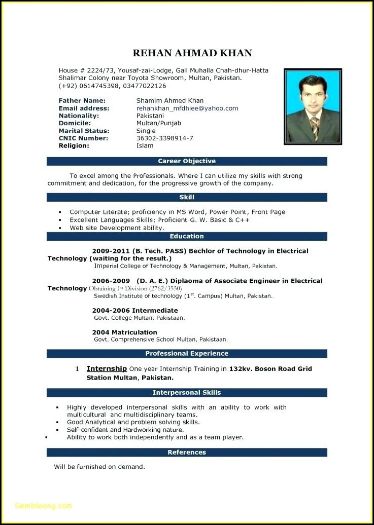 Best Resume Format For Freshers Engineers Free Download Pdf