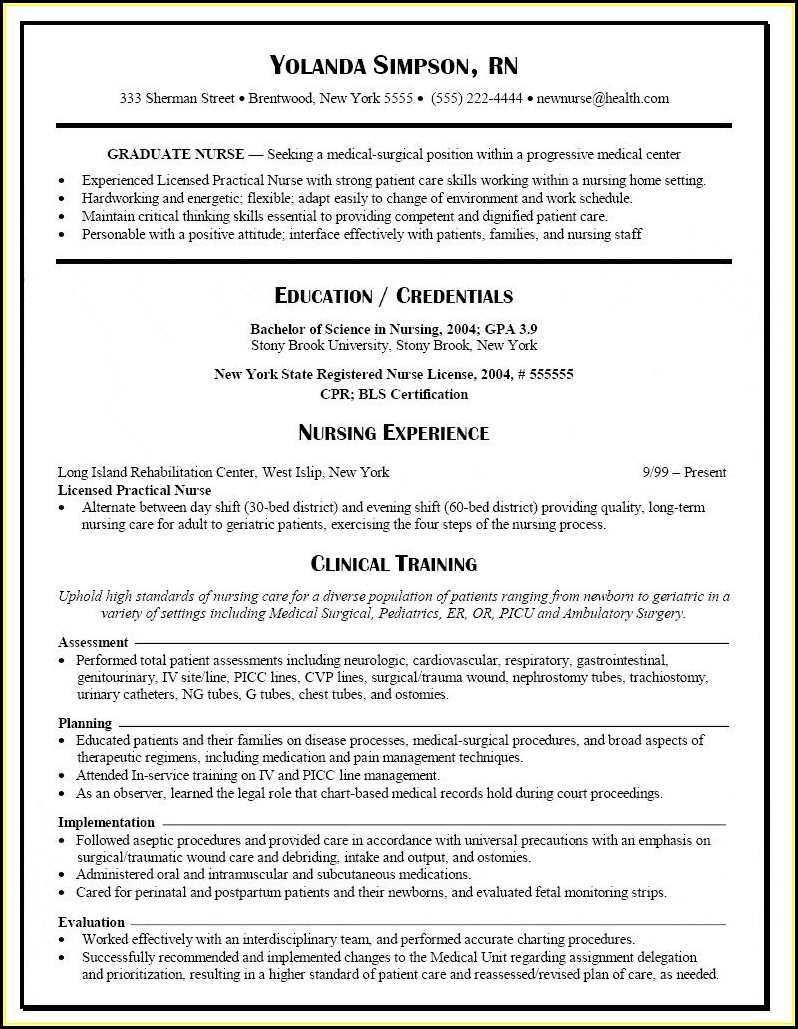 Best Resume Templates For Nurses