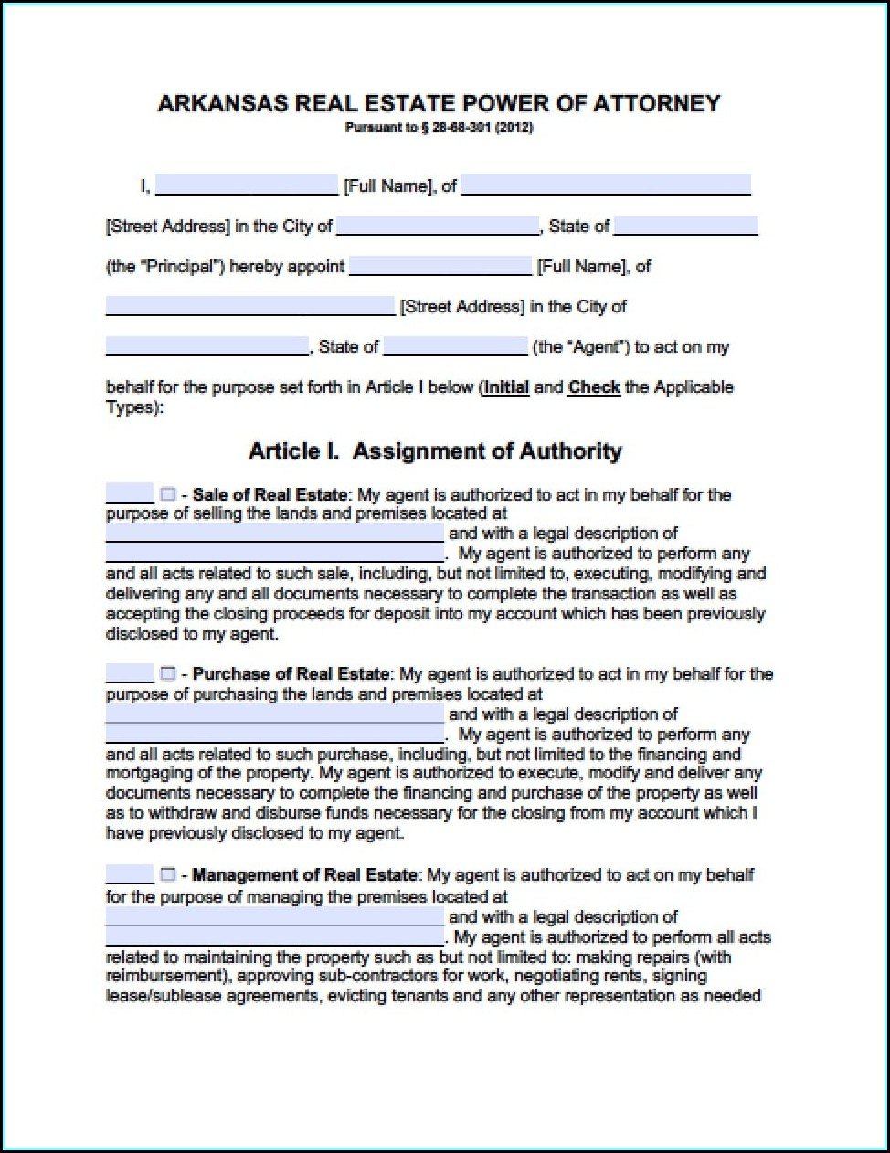 Blank Power Of Attorney Form Arkansas