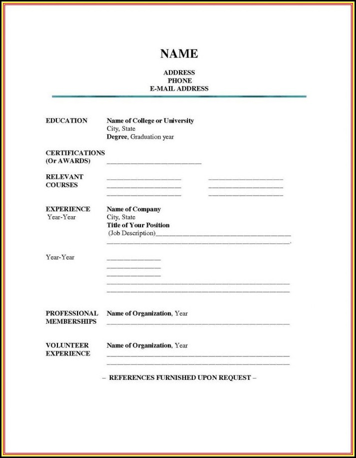 Blank Resume Doc Download