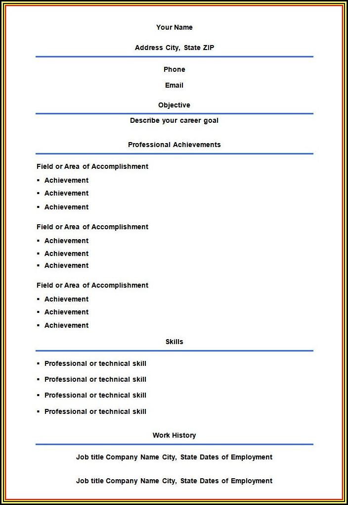 Blank Resume Download Free