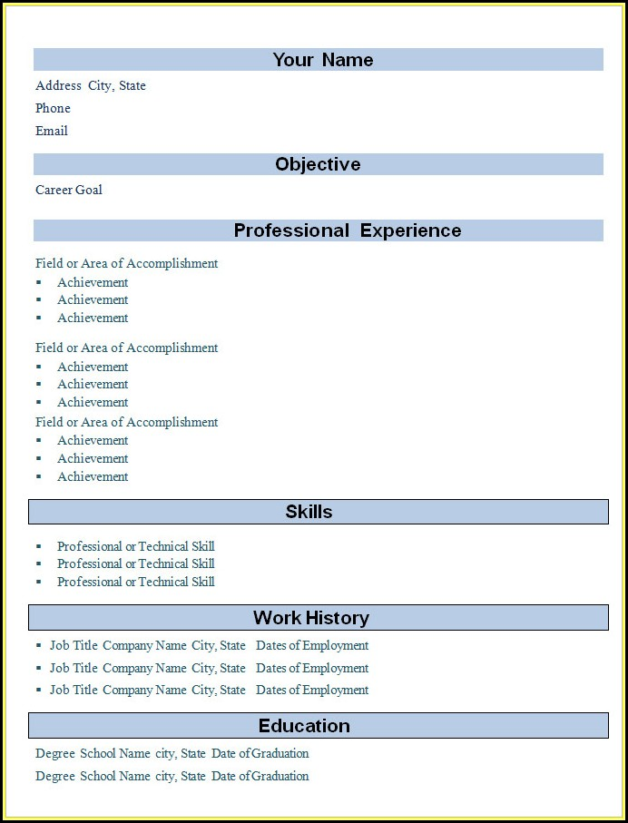 Blank Resume Format Download In Ms Word For Fresher