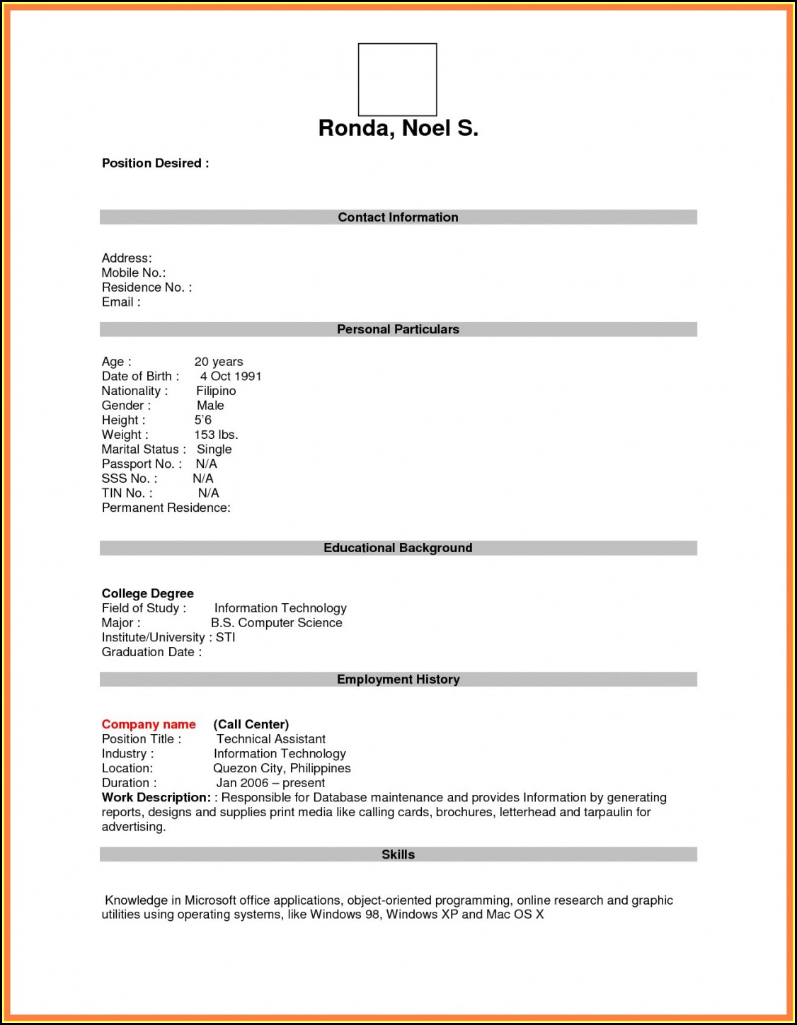 Blank Resume Format Word Free Download