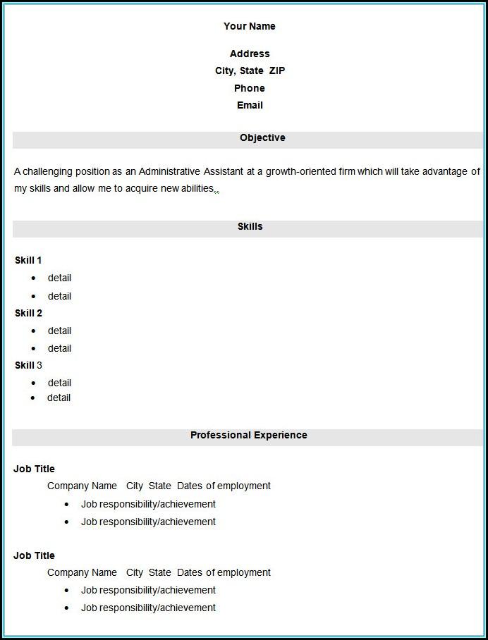 Blank Resume Sample