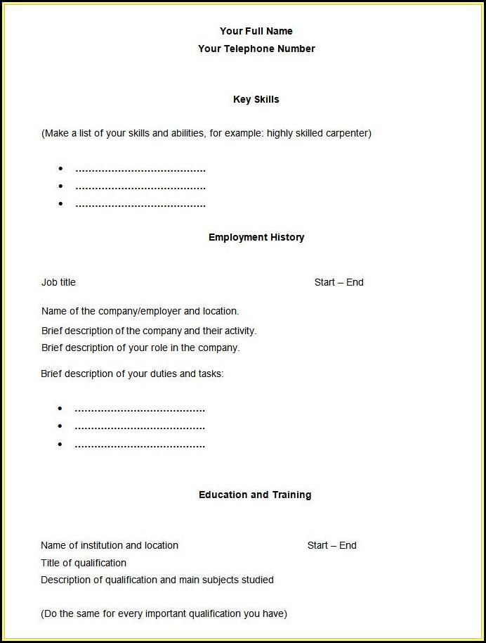 Blank Sample Resume Templates