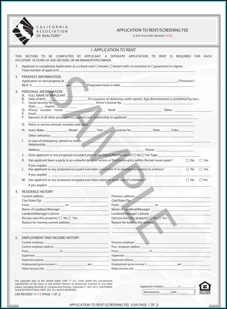 California Association Of Realtors Application To Rent Fillable Form