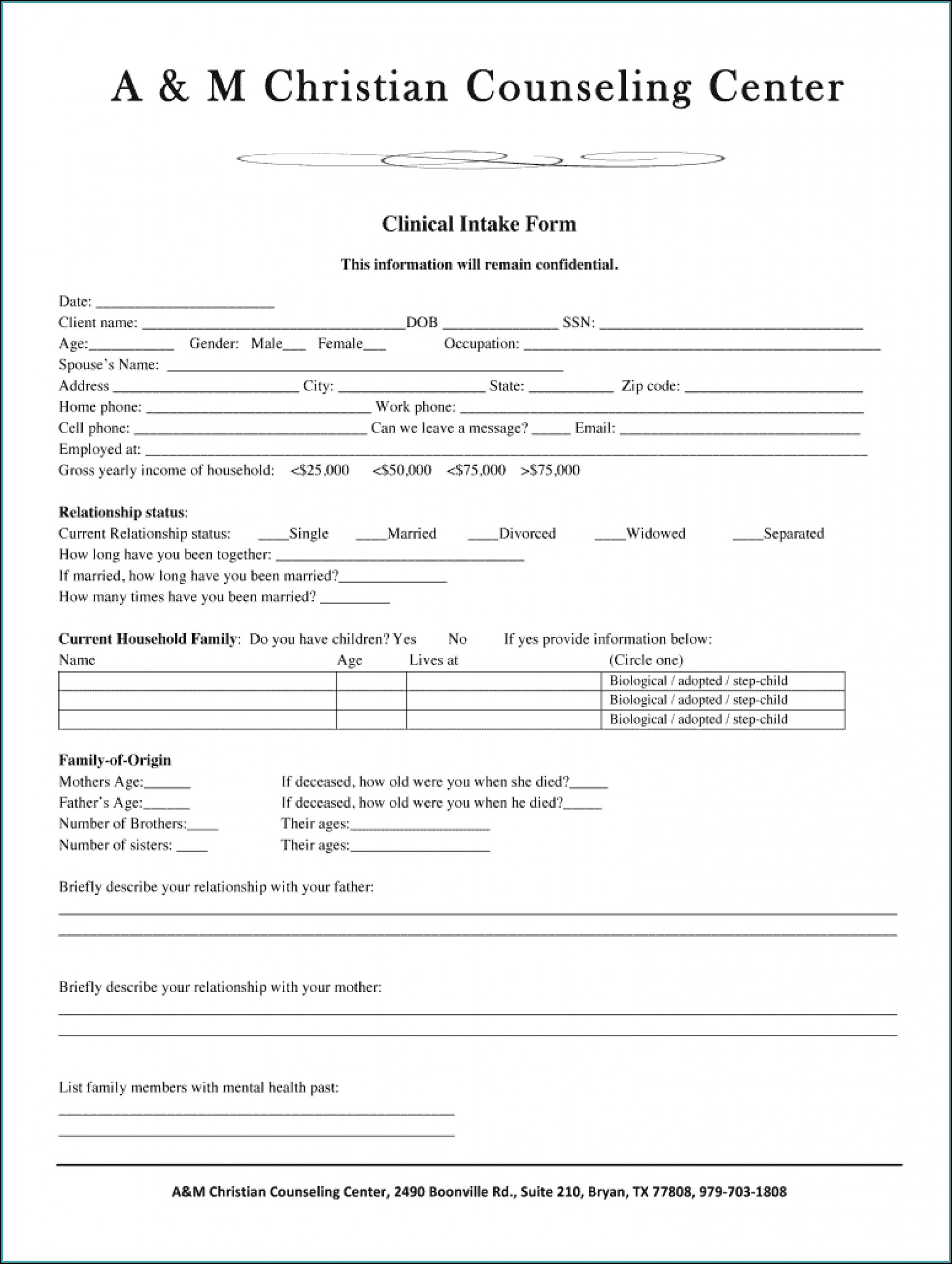 Client Intake Form Counseling