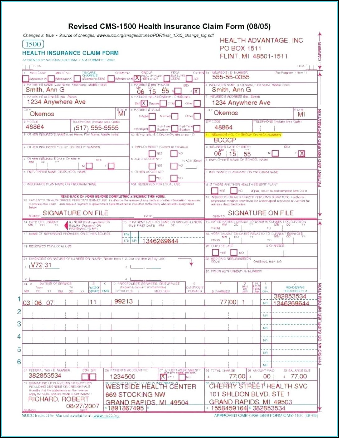Cms 1500 Fillable Form Free Download