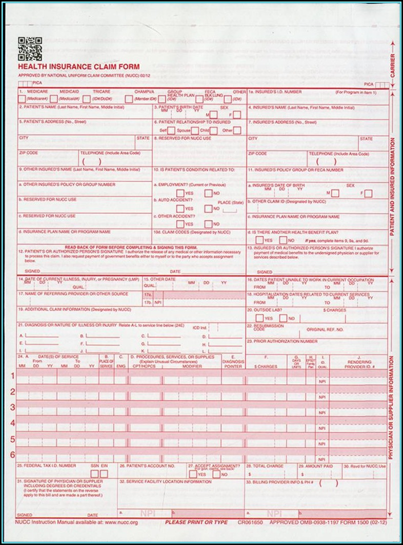 Cms 1500 Form Fillable Free 2018