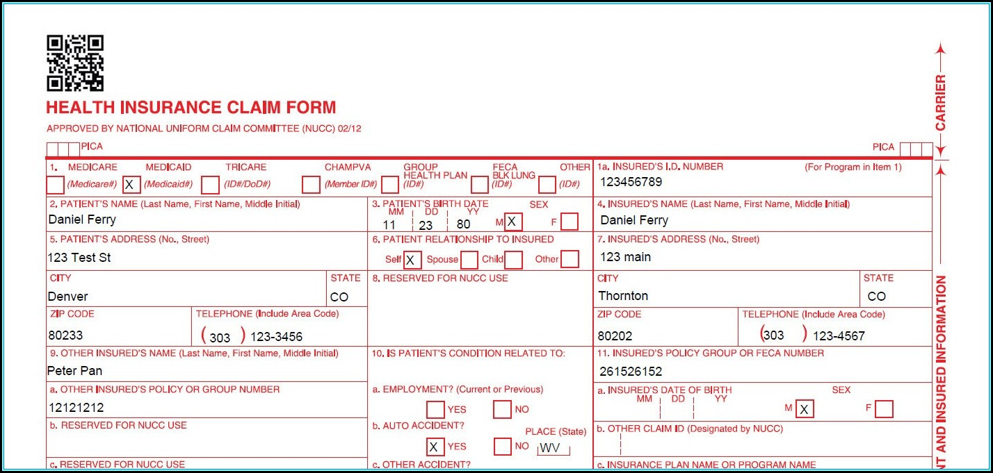 Cms 1500 Form Fillable Free