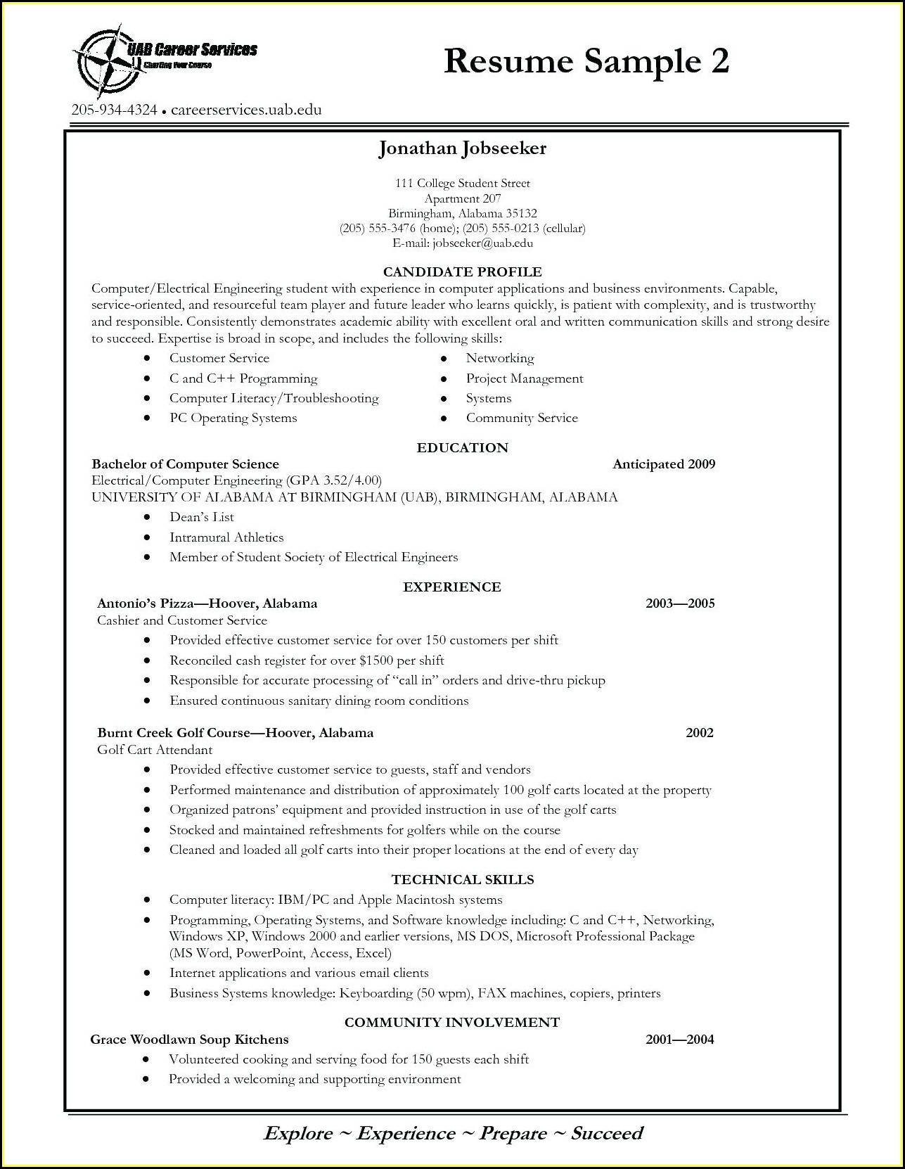College Student Resume Templates Free
