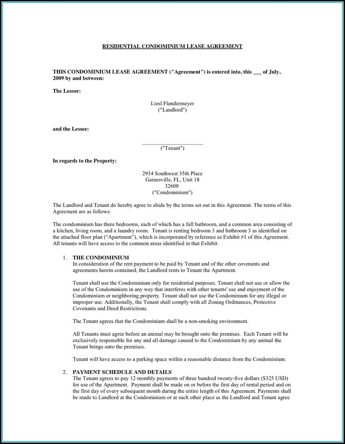 Condo Lease Agreement Form