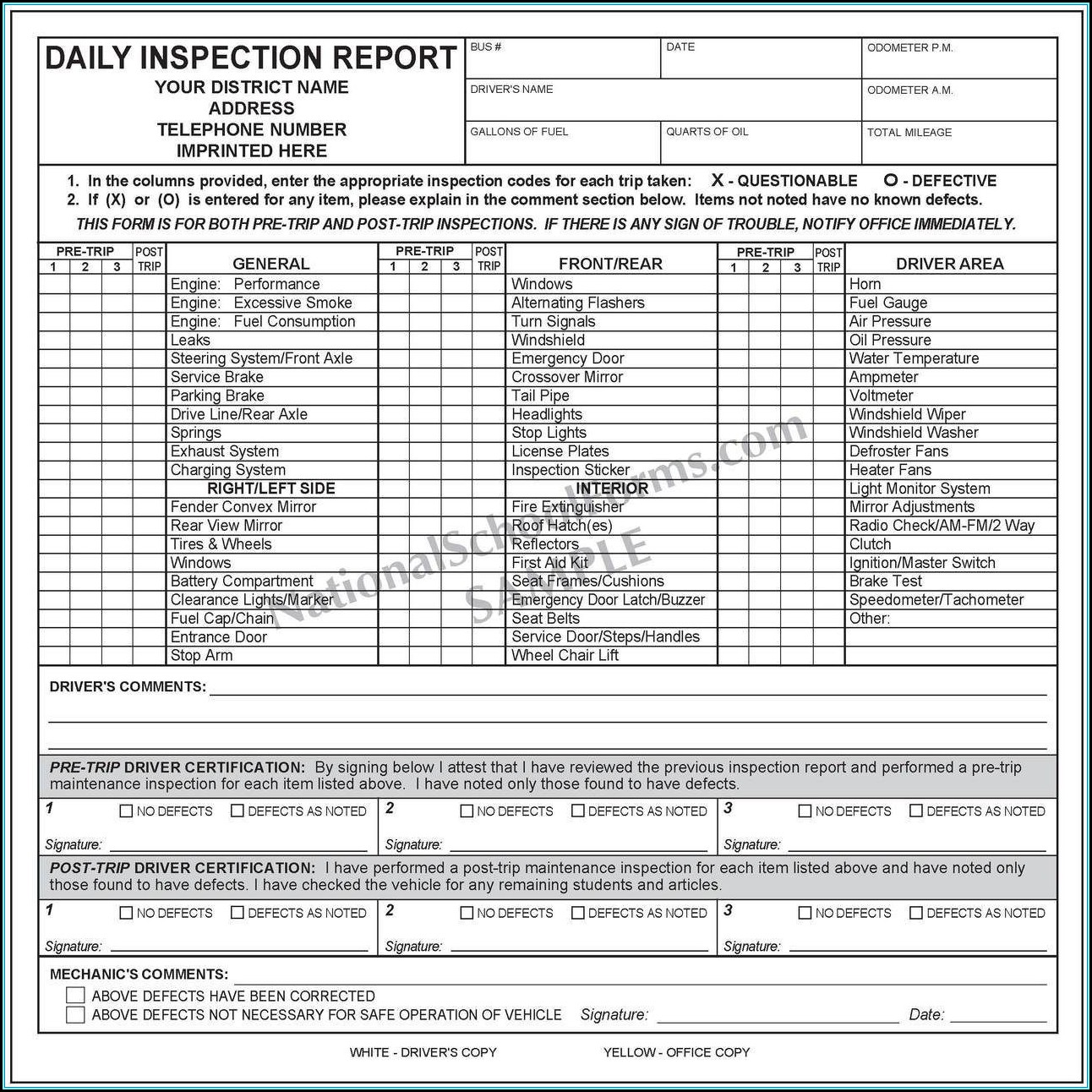 Dot Pre Post Trip Inspection Forms