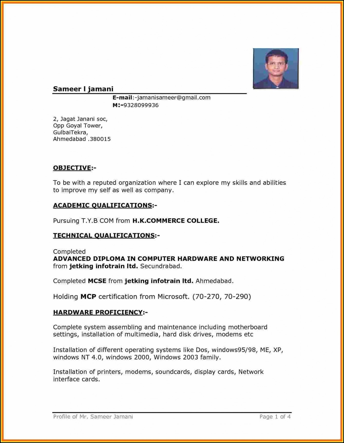 Downloadable Cv Format Ms Word