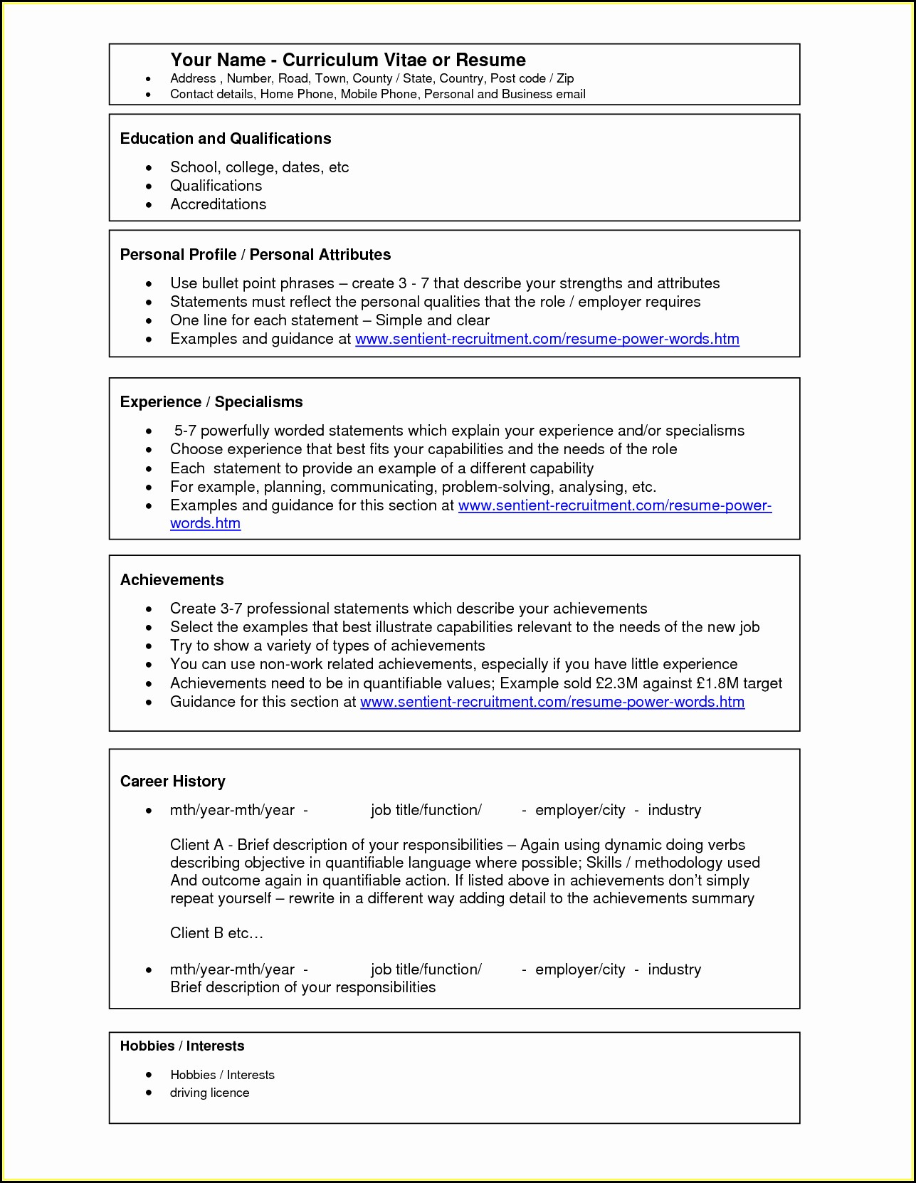 Downloadable Simple Resume Format In Word