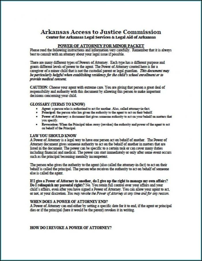 Durable Power Of Attorney Form Arkansas