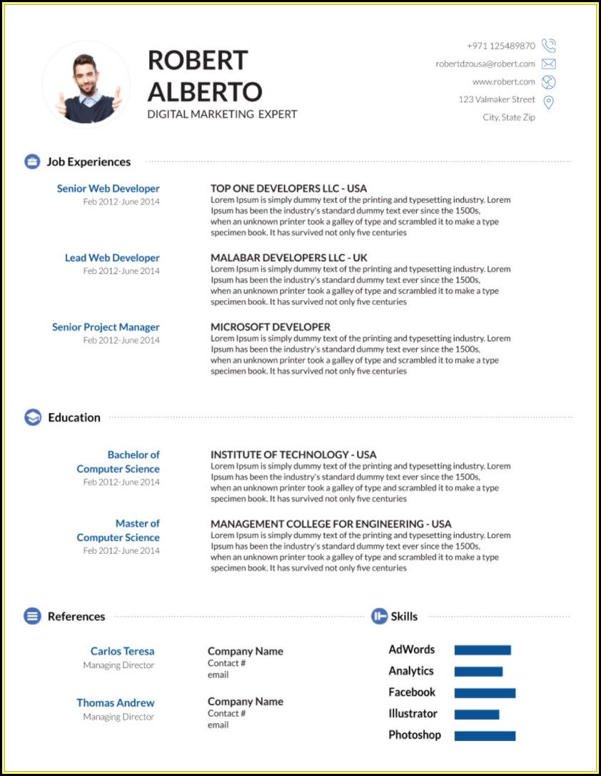 Elegant Cv Template Free Download Word